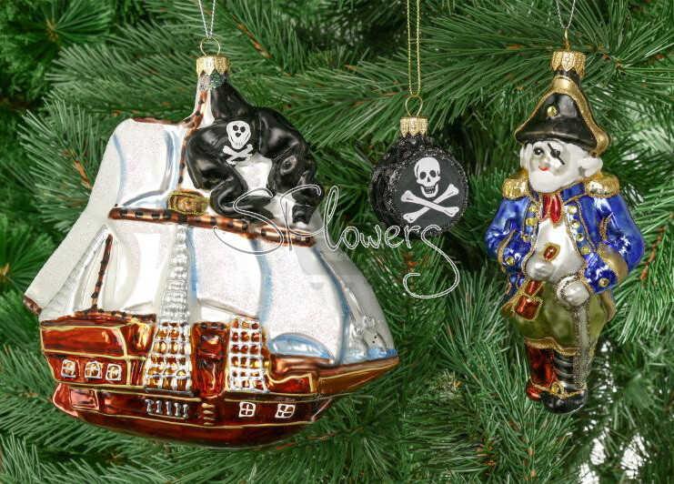 Набор елочных игрушек Пират и корабль